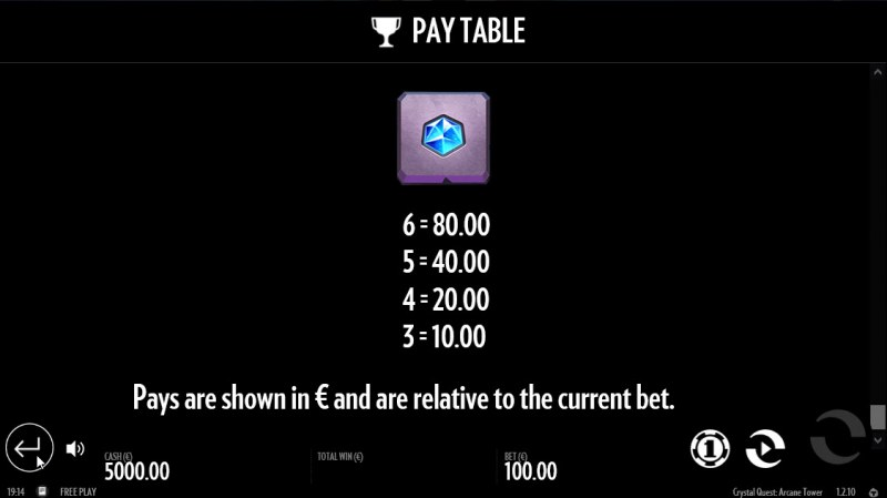 Crystal Quest Arcane Tower :: Paytable - Low Value Symbols