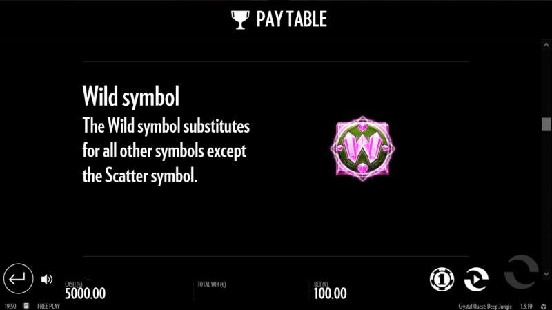 Crystal Quest Deep Jungle :: Wild Symbol Rules
