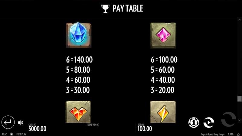 Crystal Quest Deep Jungle :: Paytable - Medium Value Symbols