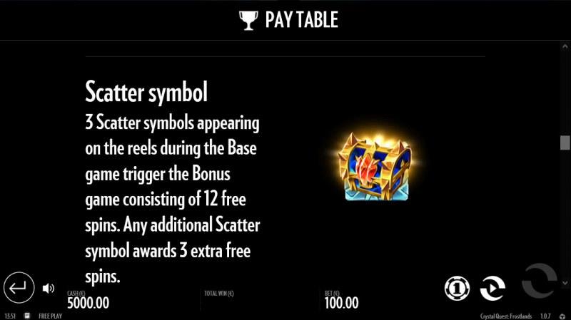 Crystal Quest Frostlands :: Scatter Symbol Rules
