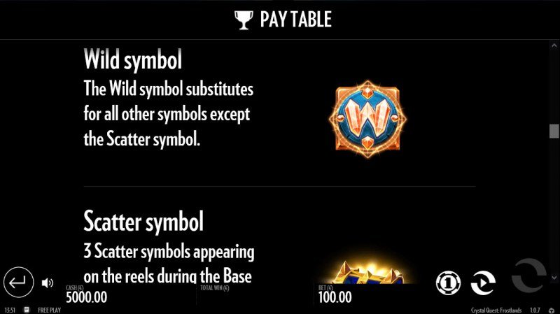 Crystal Quest Frostlands :: Wild Symbol Rules
