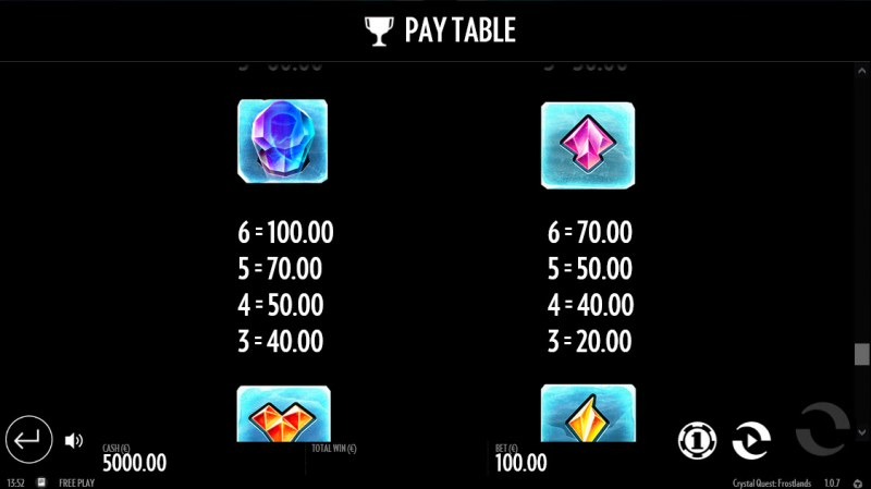 Crystal Quest Frostlands :: Paytable - Low Value Symbols
