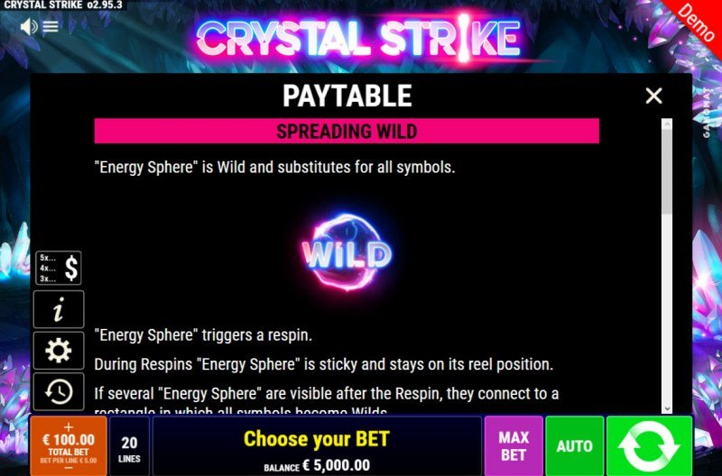 Crystal Strike :: Wild Symbol Rules