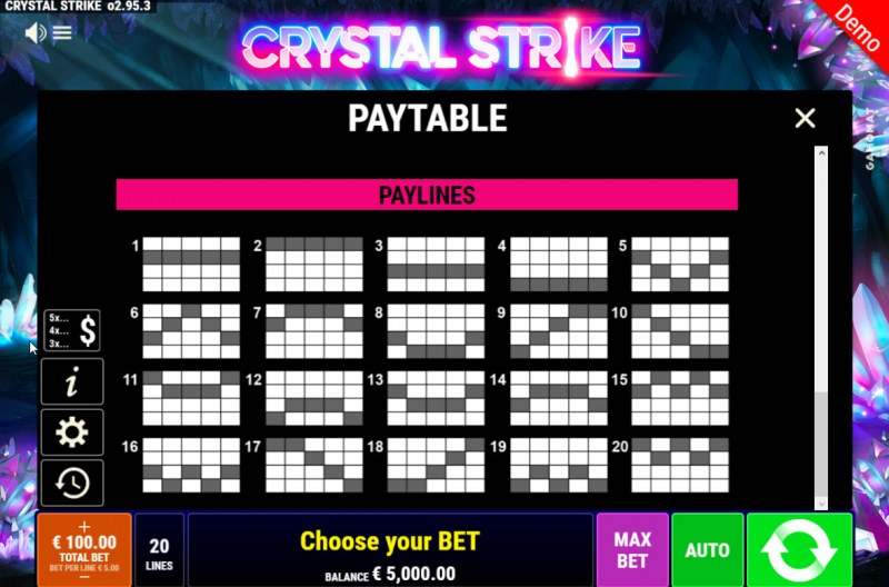 Crystal Strike :: Paylines 1-20