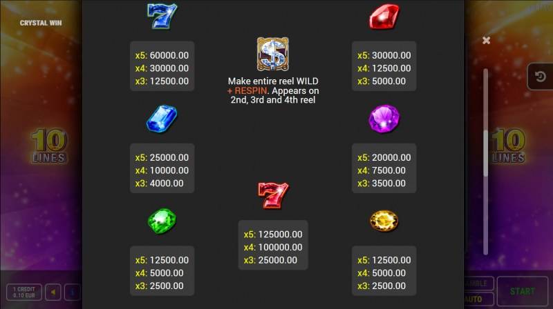 Crystal Win :: Paytable
