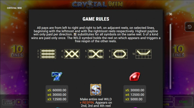 Crystal Win :: Paylines 1-10