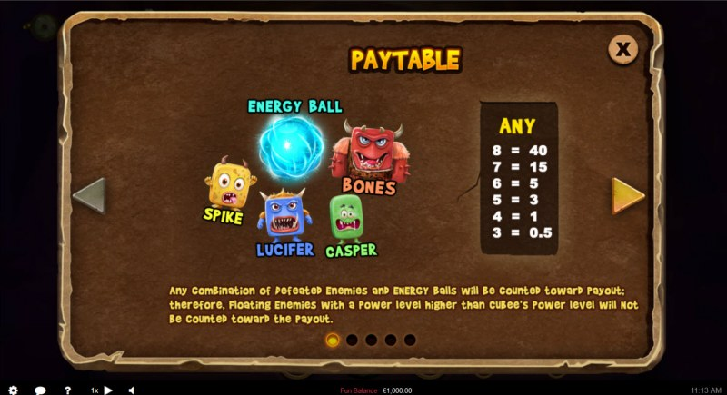 Cubee Time Travel Adventure :: Paytable