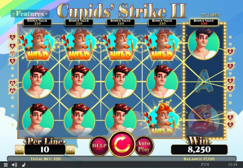 Cupids' Strike II :: Multiple winning combinations leads to a big win