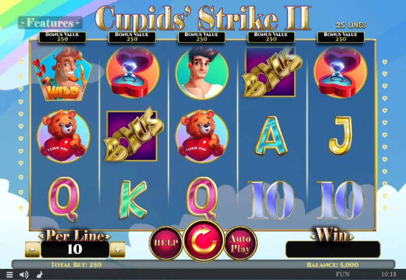 Play slots at Spintropolis: Spintropolis featuring the Video Slots Cupids' Strike II with a maximum payout of $375,000