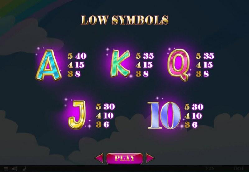 Cupids' Strike II :: Paytable - Low Value Symbols