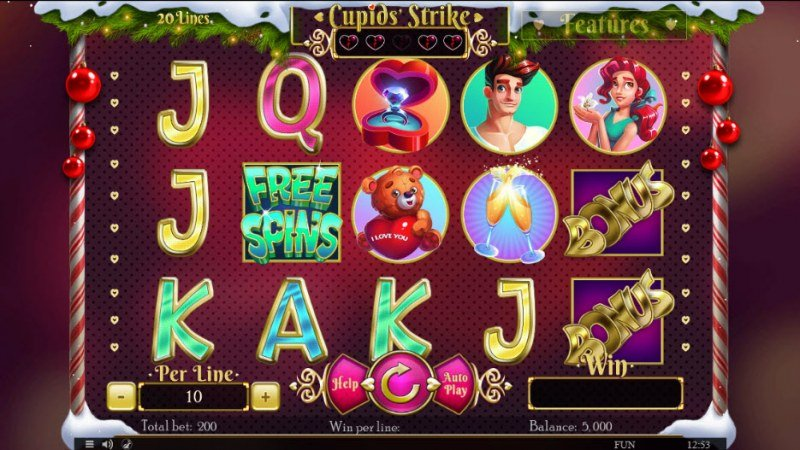 Play slots at Level Up: Level Up featuring the Video Slots Cupids' Strike Christmas Edition with a maximum payout of $40,000