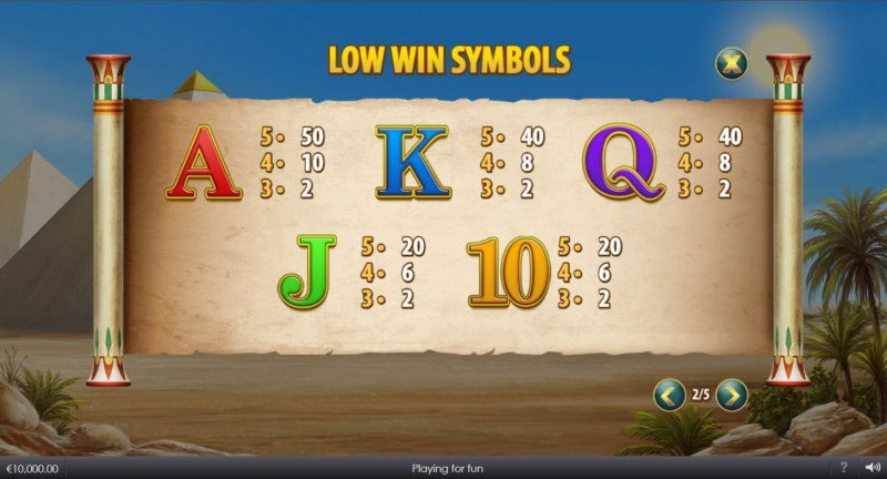 Curse of Anubis :: Paytable - Low Value Symbols