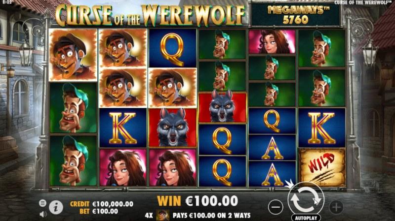 Curse of the Werewolf Megaways :: Three of a kind win
