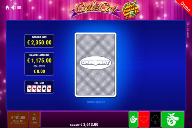 Cutie Cat Crazy Chicken Shooter :: Red or Black Gamble Feature