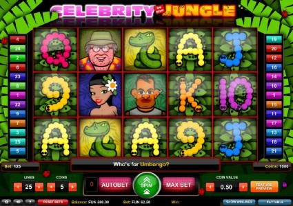 Play slots at Slots Cafe: Slots Cafe featuring the Video Slots Celebrity in the Jungle with a maximum payout of $2,500