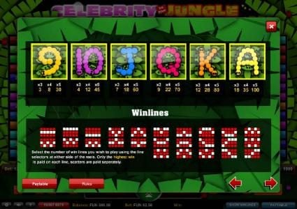 ZigZag777 featuring the Video Slots Celebrity in the Jungle with a maximum payout of $2,500