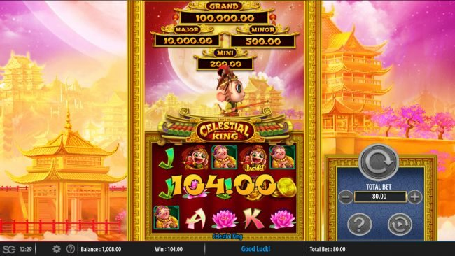 All British featuring the Video Slots Celestial King with a maximum payout of $250,000
