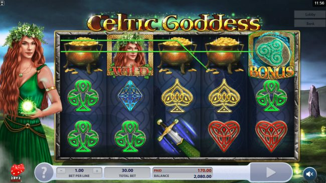 Amsterdam Casino featuring the Video Slots Celtic Goddess with a maximum payout of $60,000
