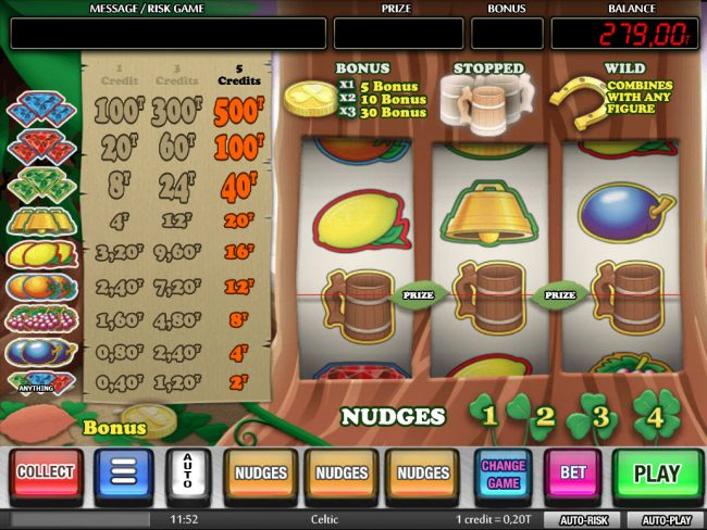 Three jugs triggers bonus game
