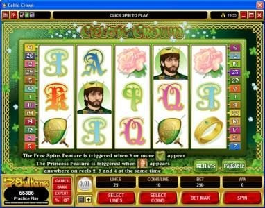 Platinum Play featuring the Video Slots Celtic Crown with a maximum payout of $50,000