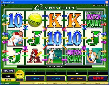 Winner Million featuring the Video Slots Centre Court with a maximum payout of $1,112,500