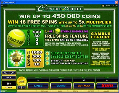 All British featuring the Video Slots Centre Court with a maximum payout of $1,112,500