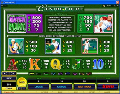 Casino Mate featuring the Video Slots Centre Court with a maximum payout of $1,112,500