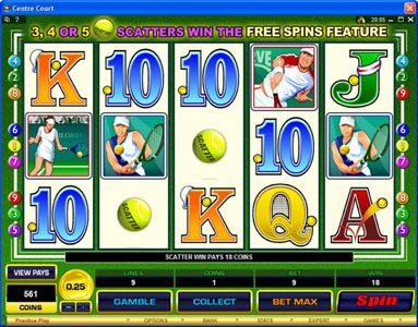 King Neptunes featuring the Video Slots Centre Court with a maximum payout of $1,112,500