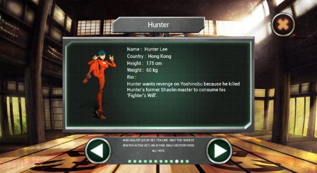 Hunter Lee wants revenge on Yoshinobu because he killed Hunters former Shaolin master to consume his Fighters Will.