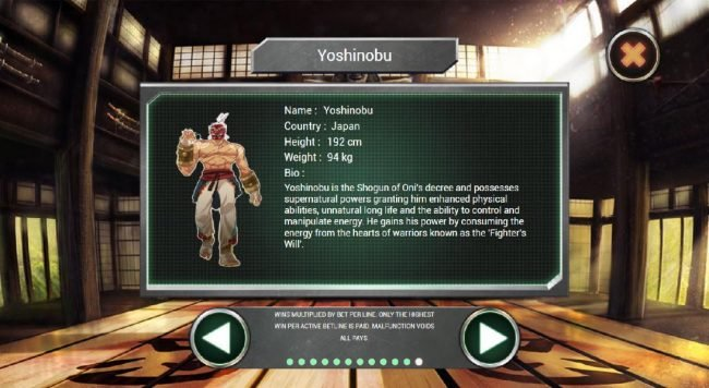 Yoshinobu is the shogun of Onis decree and possesses supernatural powers granting him enhanced physical abilities, unatural long life and the ability to control and manipulate energy.