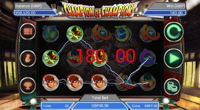 Multiple winning paylines triggers a 180.00 jackpot pay out.