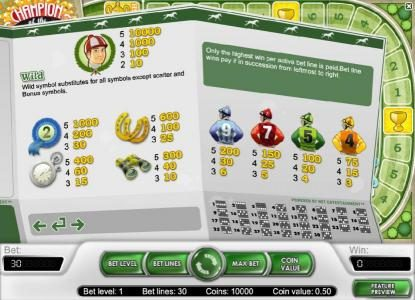 wild and slot game symbols paytable along with payline diagrams