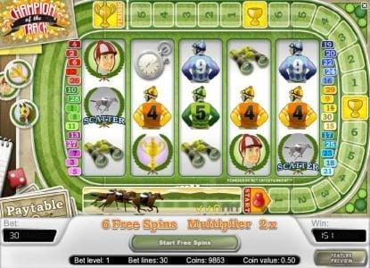 Play slots at Hello: Hello featuring the Video Slots Champion Of The Track with a maximum payout of $20,000