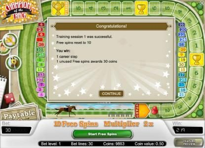 training session 1 was successful - free spins reset to 10