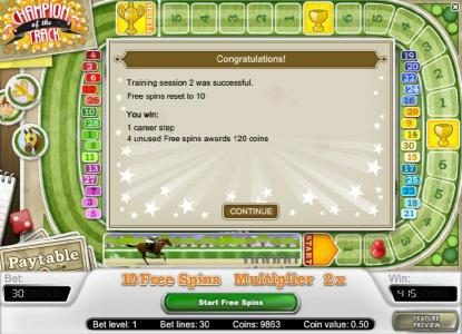 Champion Of The Track :: you have completed another training session and the free spins has been reset to 10