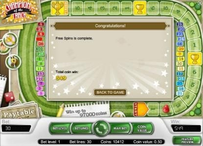after the third and final race the total win was 549 coins paid out during the free spins feature