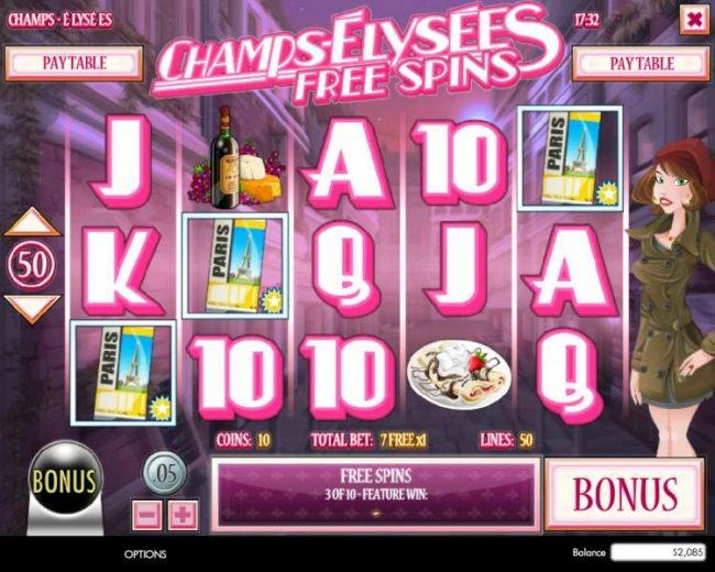 Winbig21 featuring the Video Slots Champs-Elysees with a maximum payout of $4,000