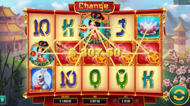 Chang'e Goddess of the Moon :: Multiple winning paylines triggers a big win