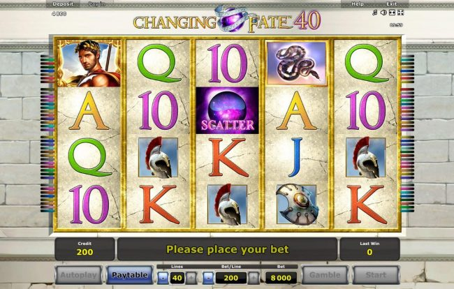 Quasar featuring the Video Slots Changing Fate 40 with a maximum payout of $40,000