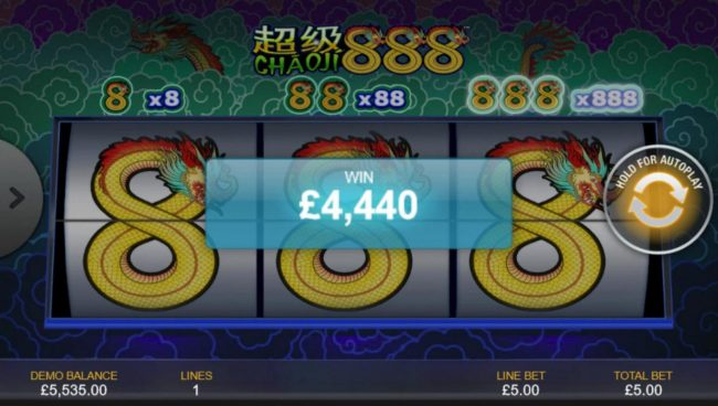 Carnival featuring the Video Slots Chaoji 888 with a maximum payout of $4,440