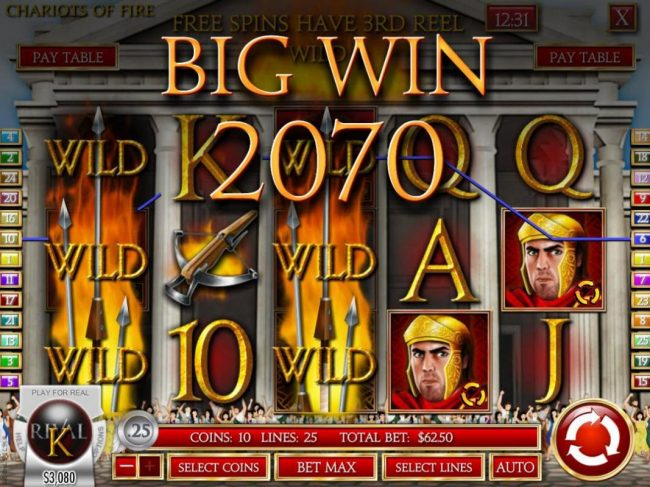 Crazy Luck featuring the Video Slots Chariots of Fire with a maximum payout of $2,500