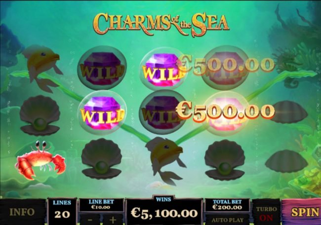 Chips Palace featuring the Video Slots Charms of the Sea with a maximum payout of $5,000,000