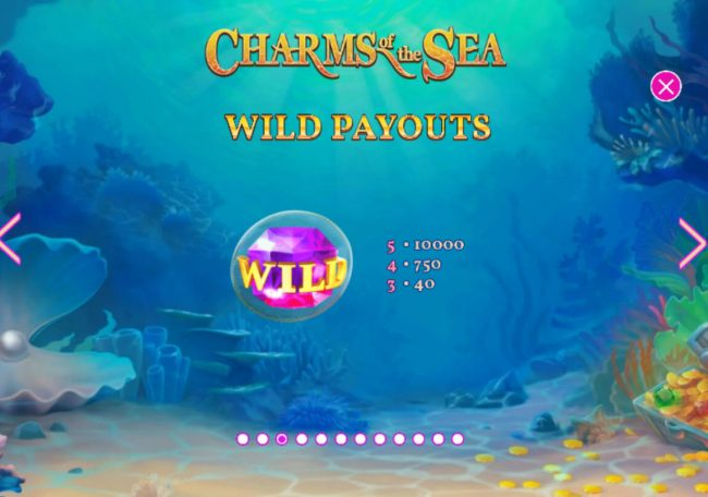 Casino.com featuring the Video Slots Charms of the Sea with a maximum payout of $5,000,000