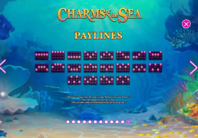 William Hill Casino Club featuring the Video Slots Charms of the Sea with a maximum payout of $5,000,000