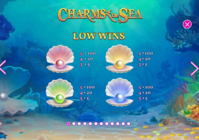 Euro Grand featuring the Video Slots Charms of the Sea with a maximum payout of $5,000,000
