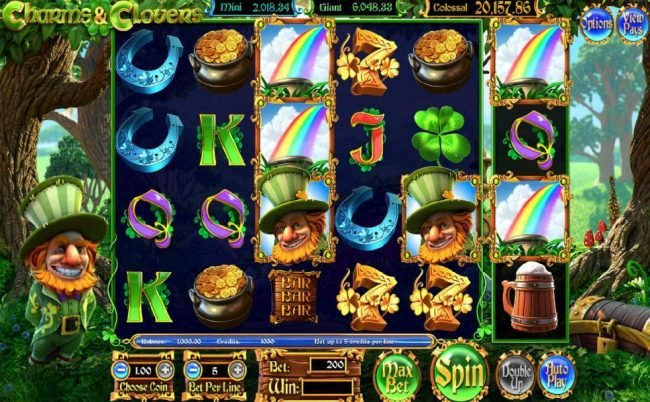 123 Vegas Win featuring the Video Slots Charms & Clover with a maximum payout of Jackpot