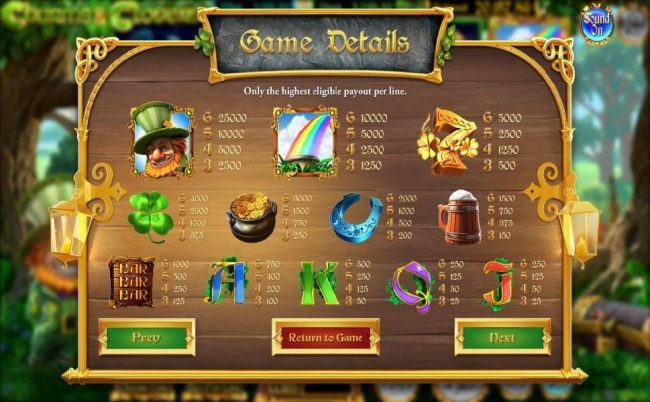 Charms & Clover :: Slot game symbols paytable