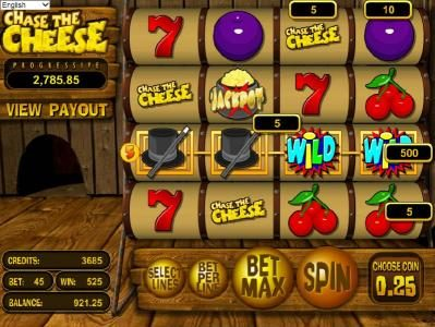 Slots LV featuring the Video Slots Chase the Cheese with a maximum payout of $7,500