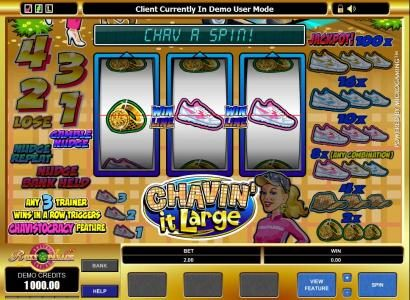 18 Bet featuring the Video Slots Chavin' it Large with a maximum payout of $1,000