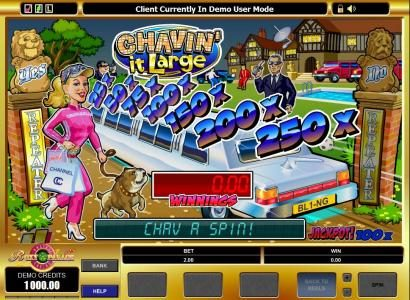 Bonanza featuring the Video Slots Chavin' it Large with a maximum payout of $1,000